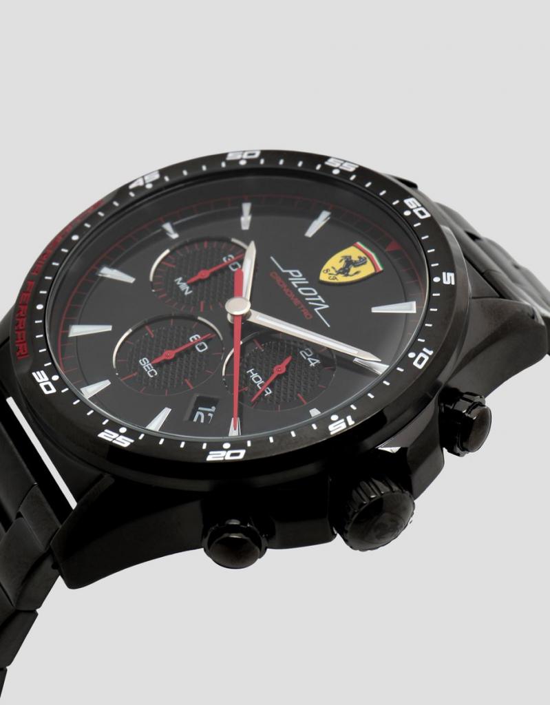 Ferrari Black Pilota Chronograph Watch With Steel Bracelet