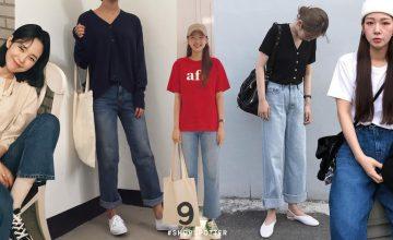 """พาดูแฟชั่น """"กางเกงยีนส์ขากระบอก"""" สไตล์ Chic & Chill ของสาวเกาหลี"""