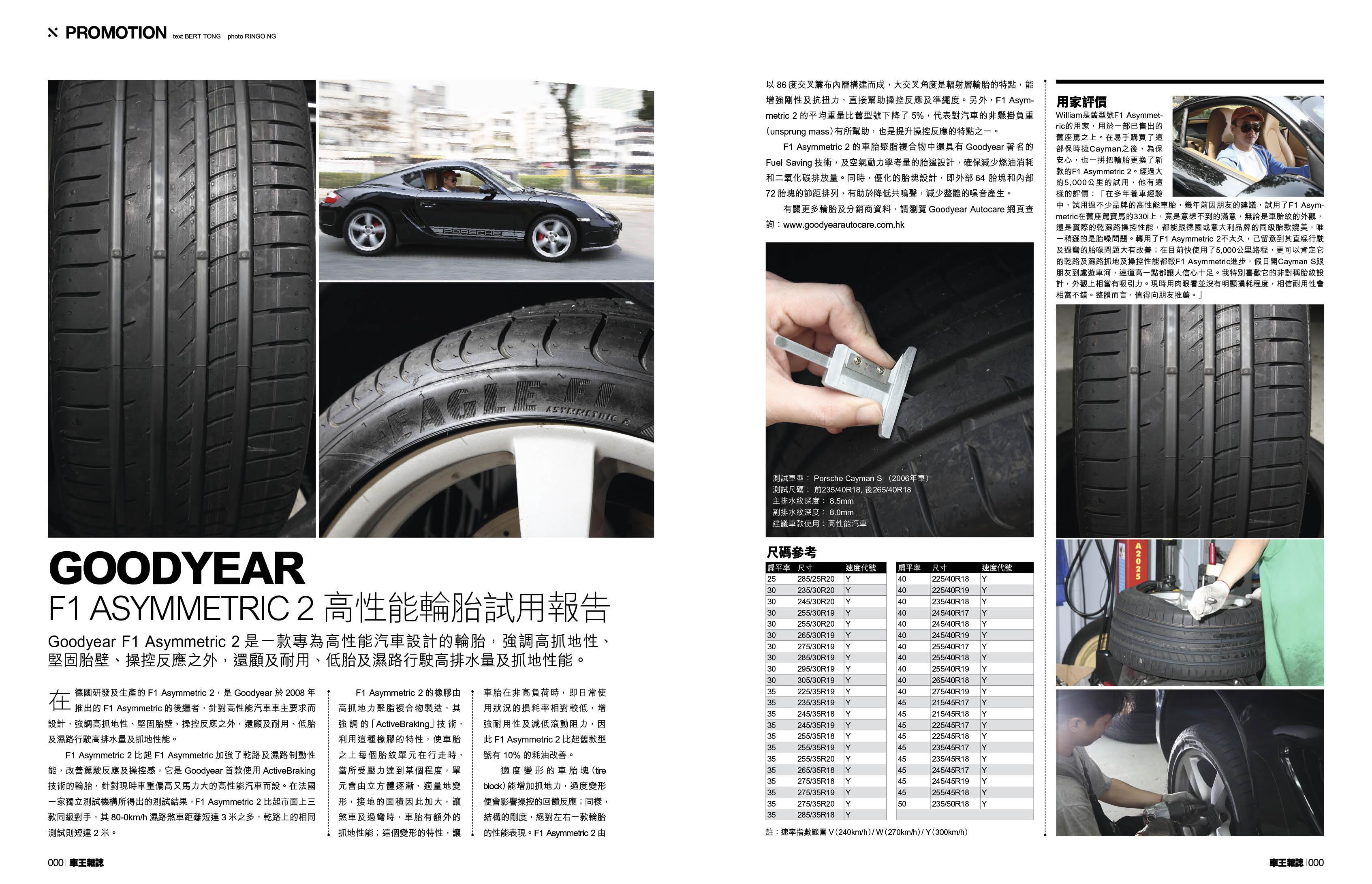 車王雜誌CarPlus 2013年01月15日 - GOODYEAR F1 ASYMMETRTC 2 高性能輪胎試用報告