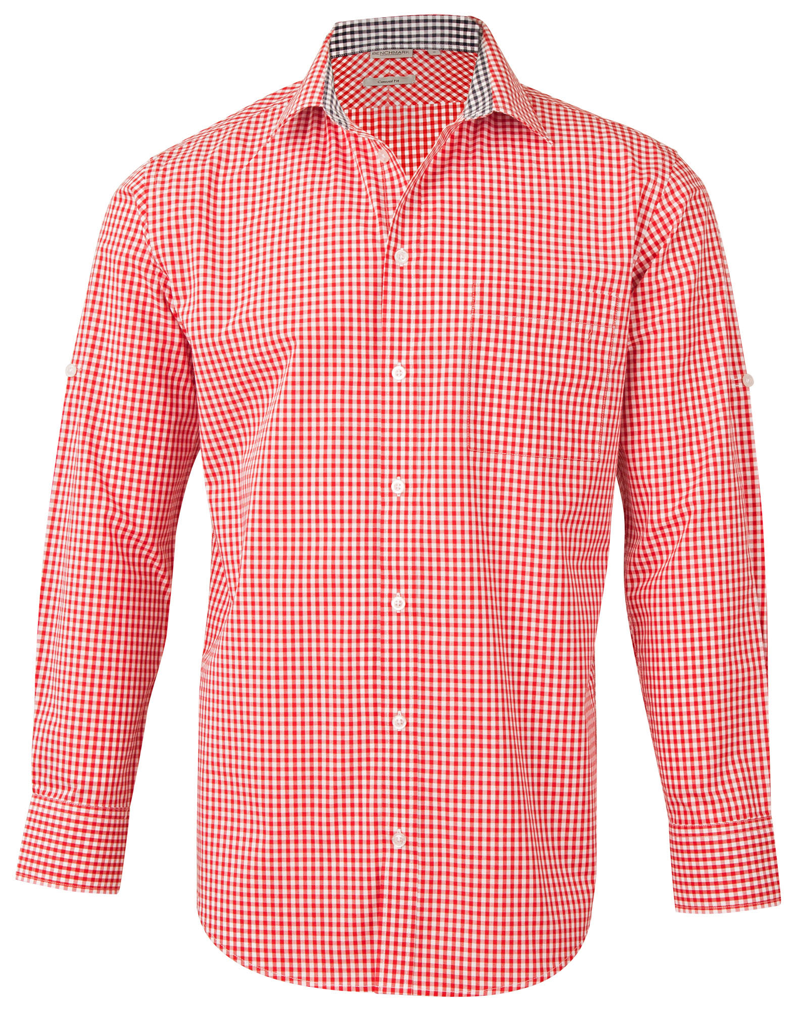 71b4ee9b677 M7330L Men s Gingham Check Long Sleeve Shirt with Roll-up Tab Sleeve ...