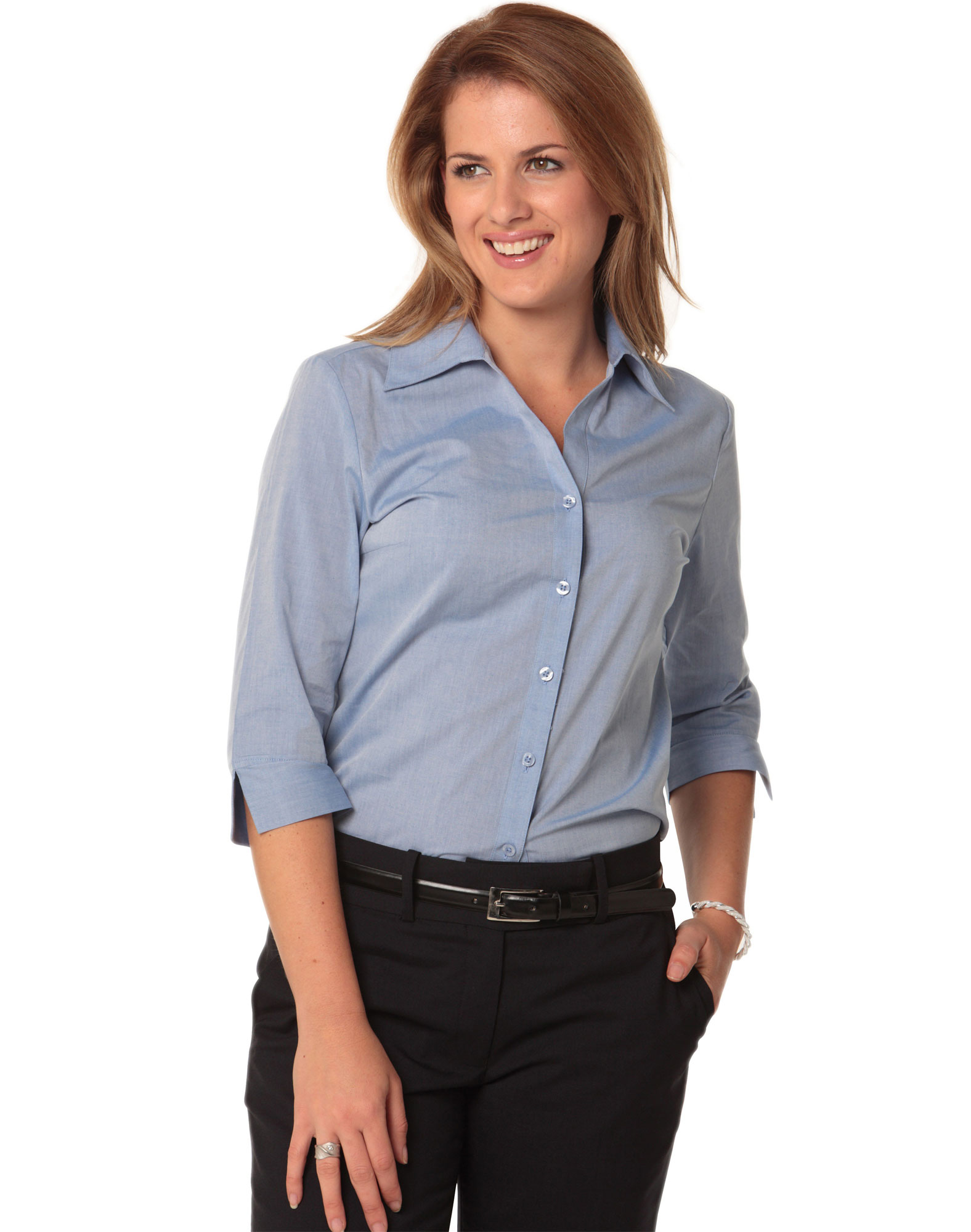 M8013 Womenu0026#39;s Fine Chambray 3/4 Sleeve Shirt
