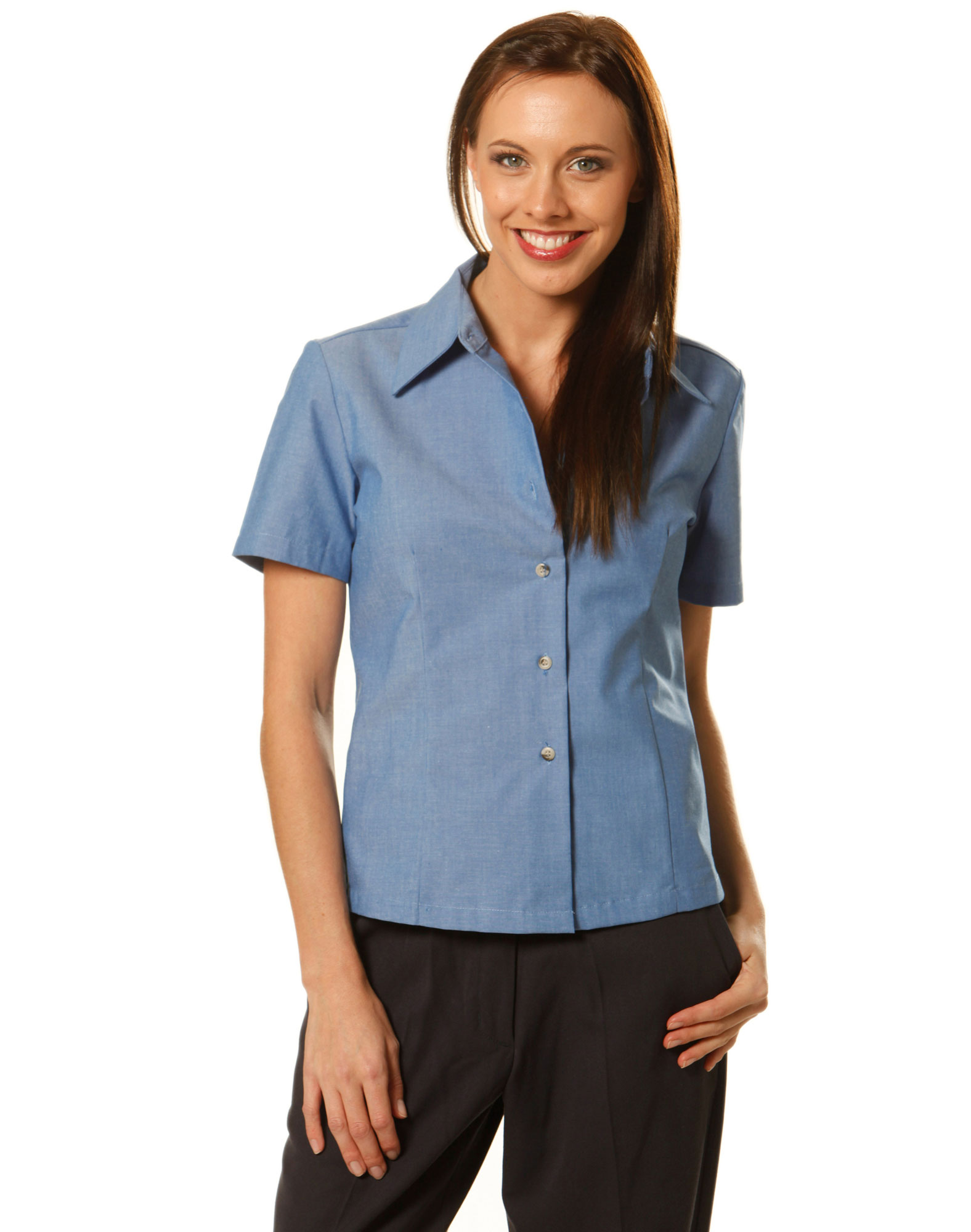 Bs05 ladies chambray shor sleeve for Chambray shirt women