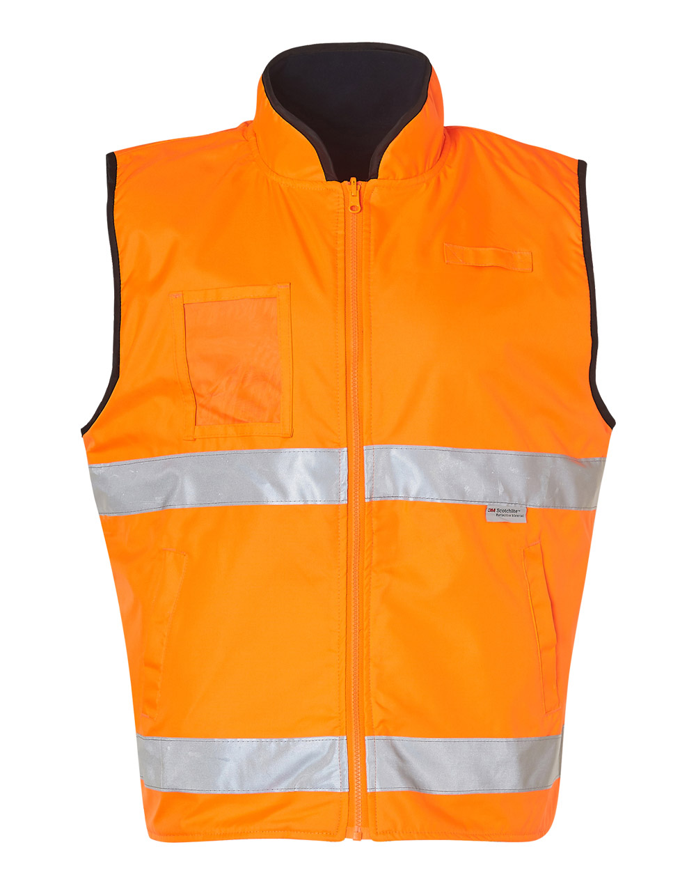 653a60c01ff7b High Visibility Reversible Mandarine Collar Safety Vest