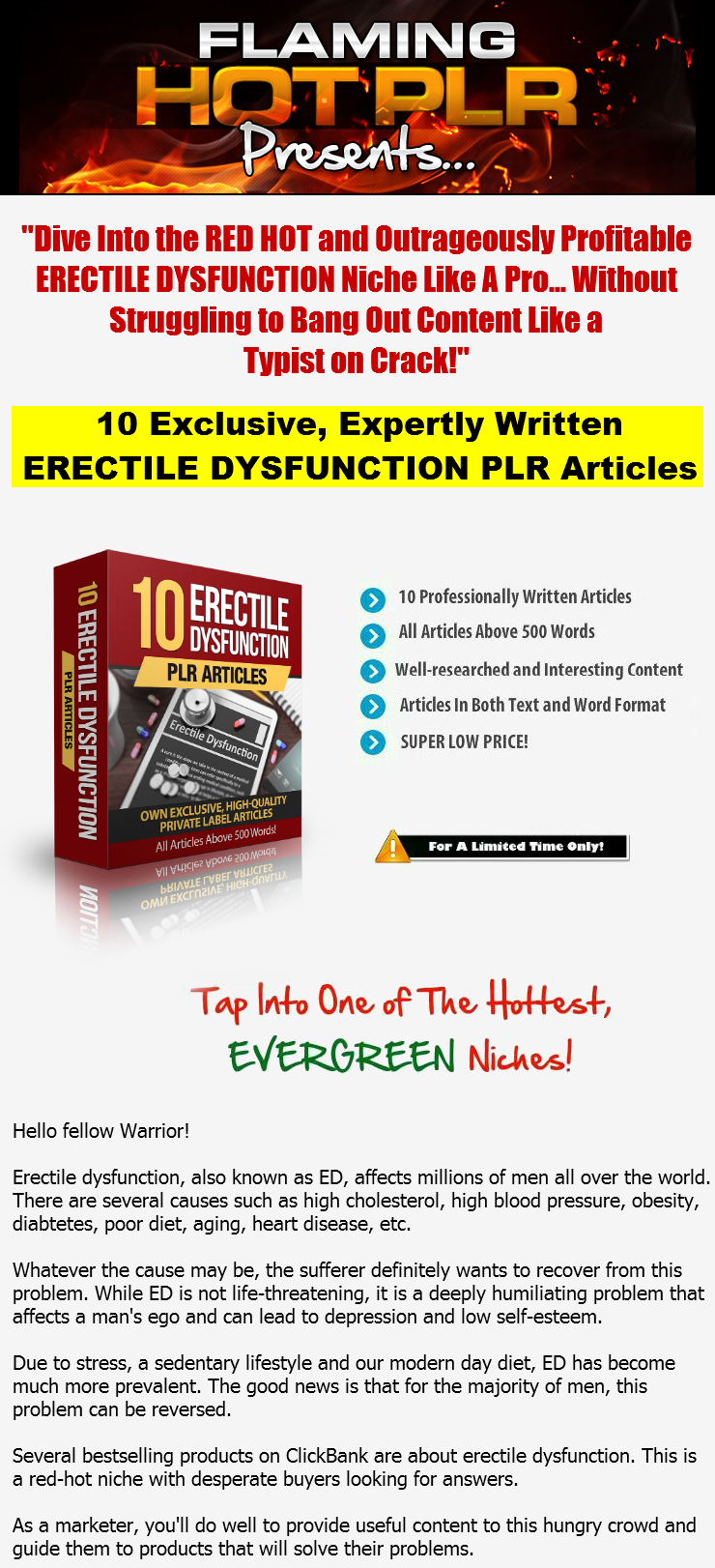 [GET] [ERECTILE DYSFUNCTION PLR] Exclusive, Expertly Written Erectile Dysfunction (ED) PLR Articles.