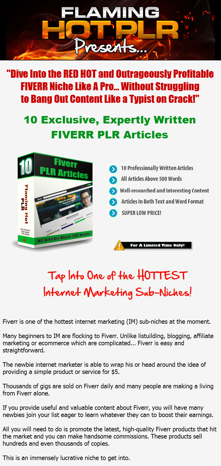 [GET] [HOT FIVERR PLR] 10 High Quality, Expertly Written PLR Articles About Fiverr.