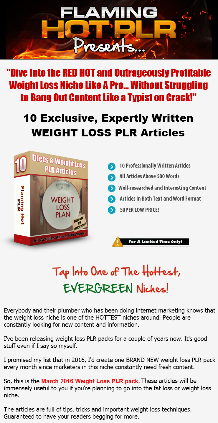 [GET] [NEW Diets and Weight Loss PLR] HOT Weight Loss PLR Articles for March 2016!