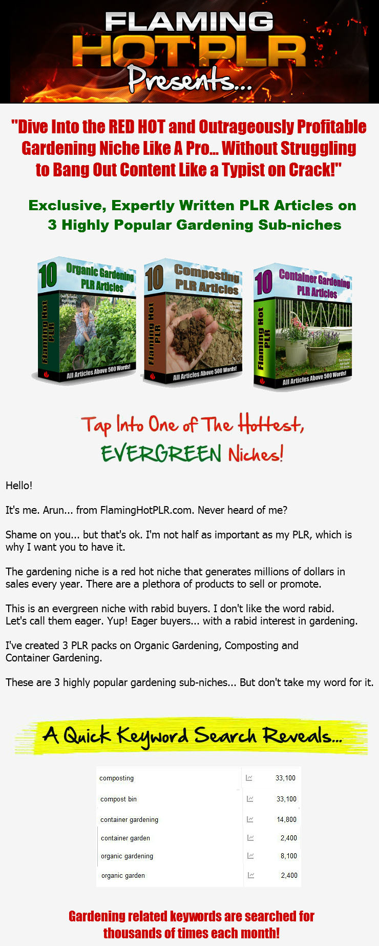 [PLR] Exclusive, Expertly Written Organic Gardening   Composting    Container Gardening PLR Articles