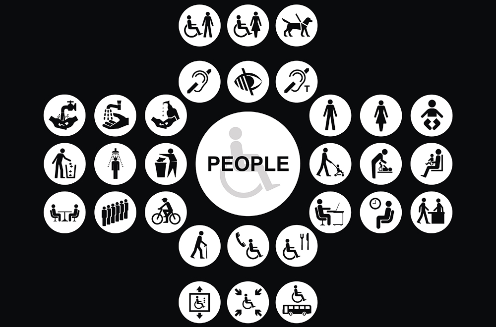 White cruciform disability and people related icon collection isolated on black background