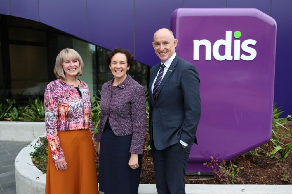 Minister for the National Disability Insurance Scheme, Stuart Robert, with NDIA Acting CEO and Secretary of the Department of Social Services