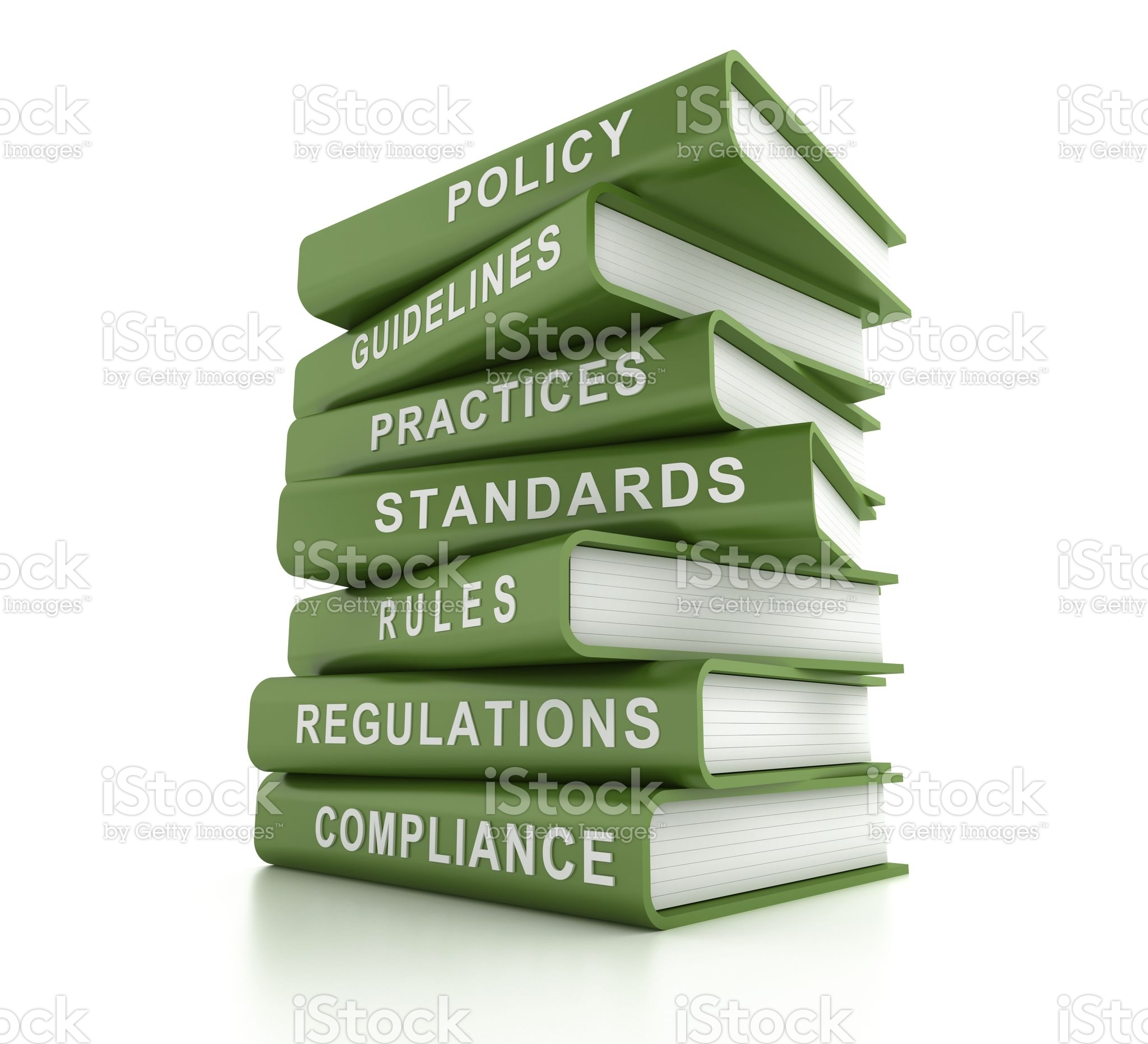 stack of green books, compliance and related words