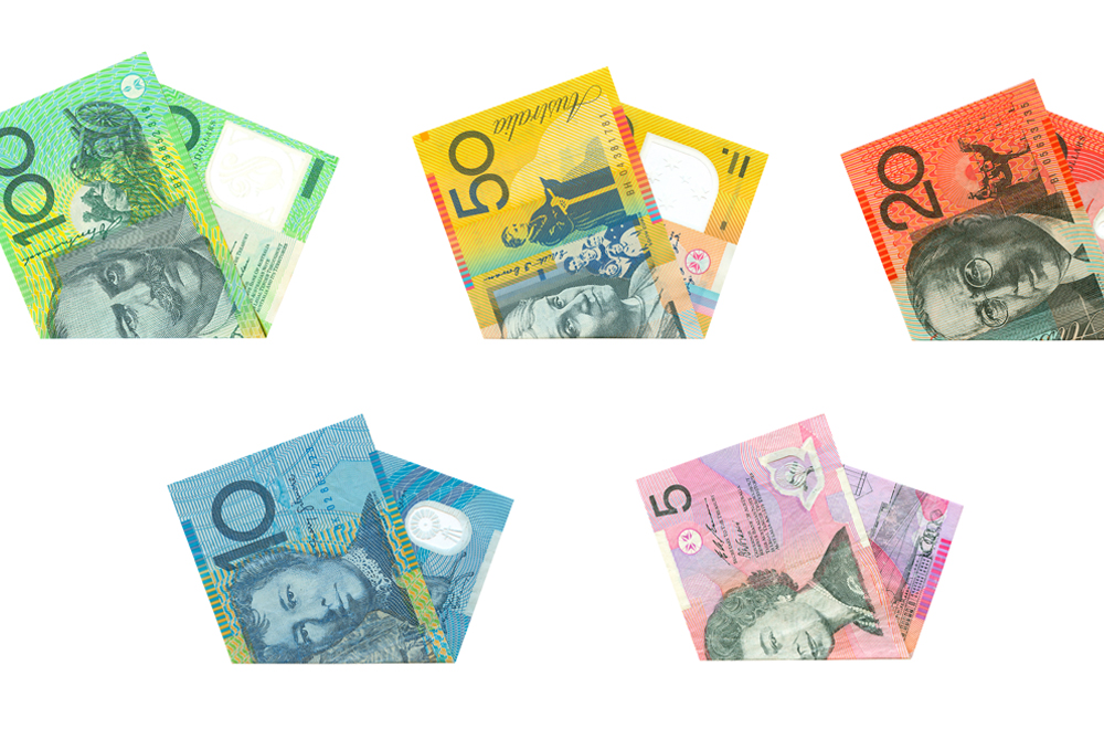 Set of Australian dollars on white background
