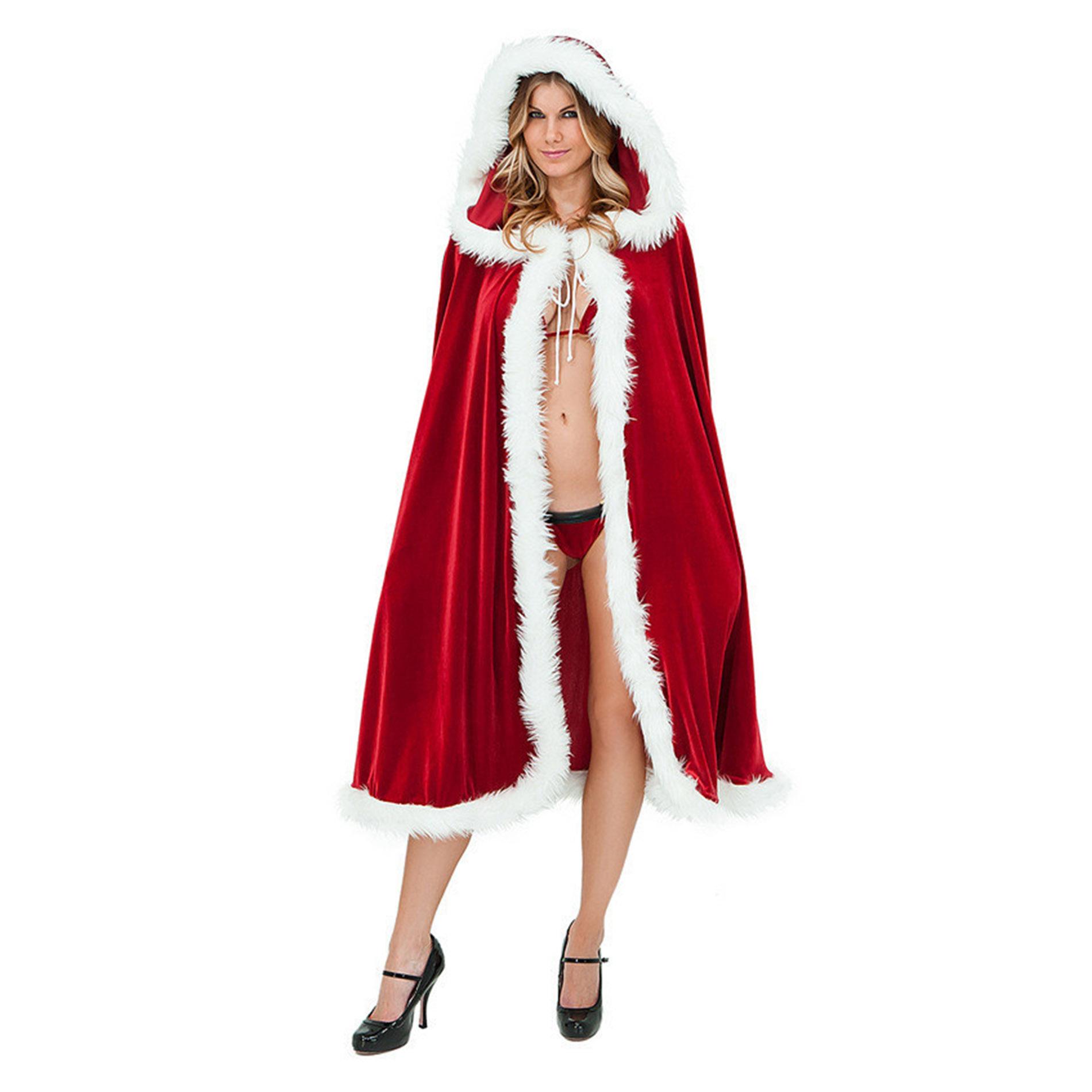 Deluxe Cape à Capuche Pour Femme De Noël Mrs Santa Claus Cape Pour Déguisement Apparence Attractive