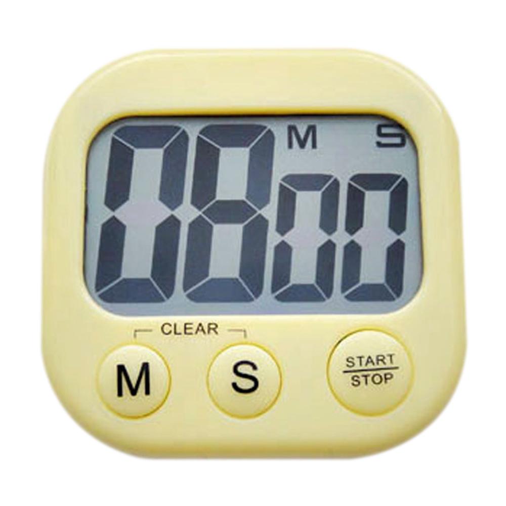 Superbe Horloge Compteur Digital LCD Alarme Compte à Rebours Pour Cuisson Cuisine   Jaune