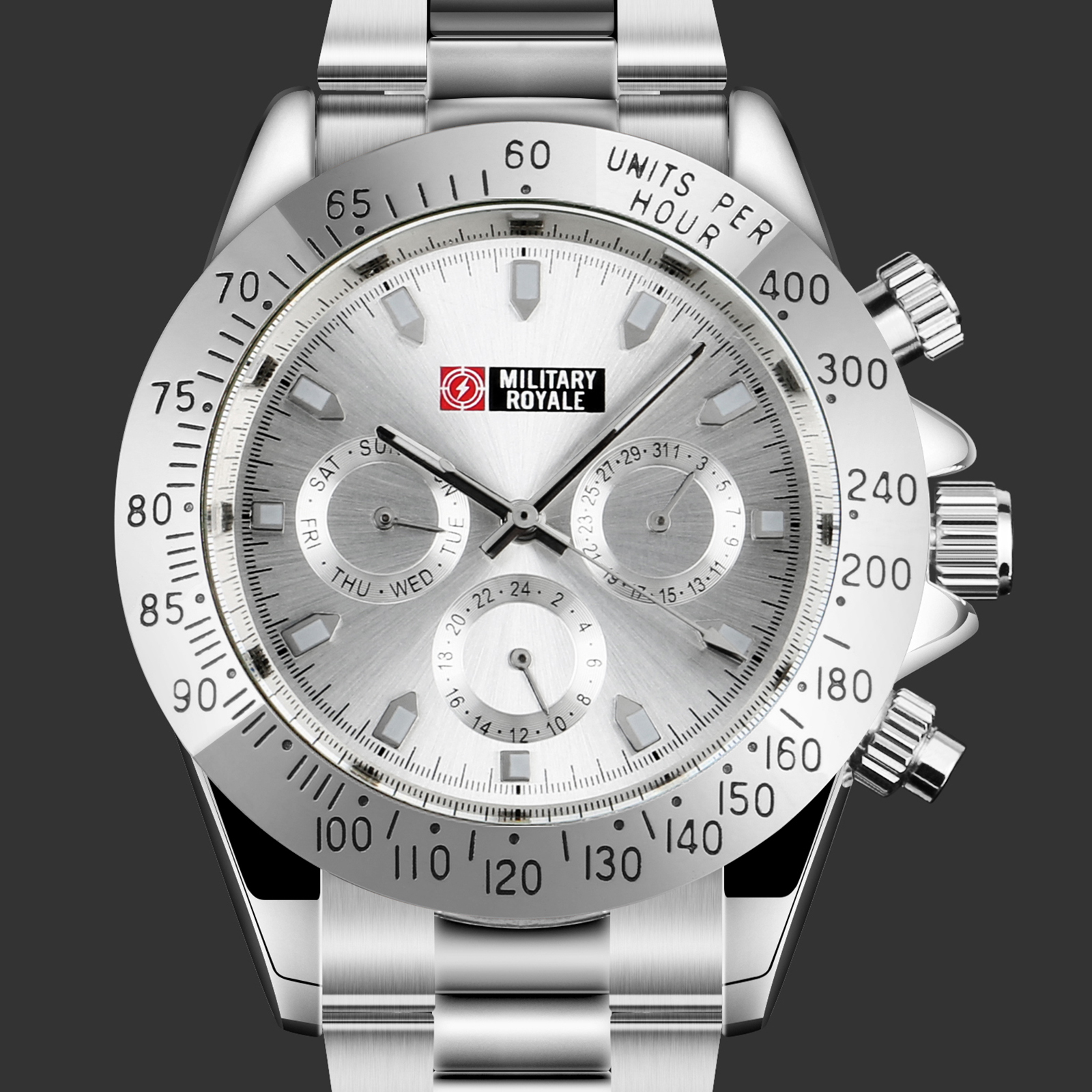 Military-Royale-Self-winding-Mens-Watch-Silver-Stainless-Steel-Strap-White-Dial