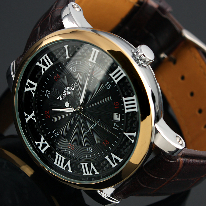 Men-039-s-Watch-Automatic-Mechanical-Roman-Numerals-Date-Brown-Leather-Strap-Black