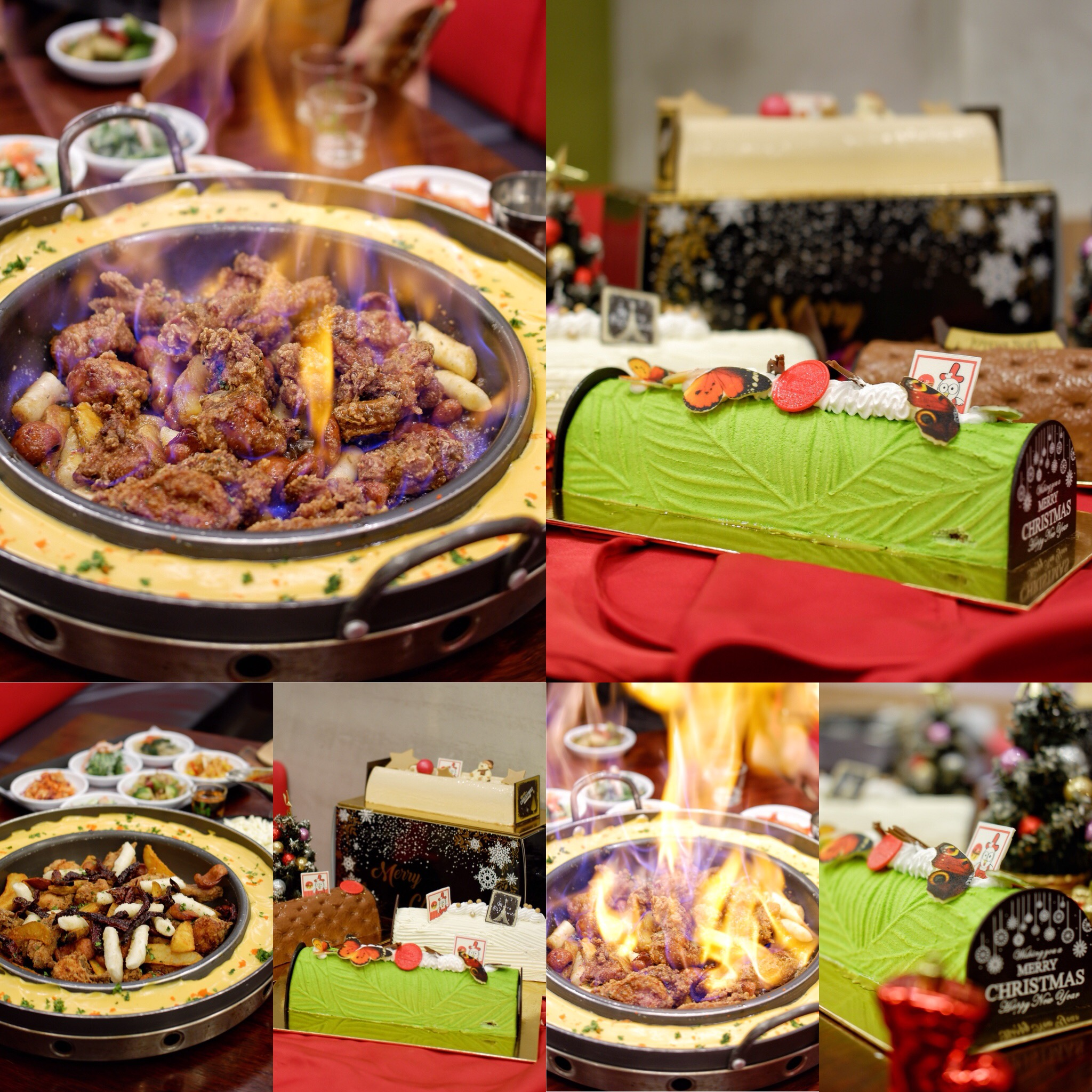 Yoogane Singapore: Celebrate Christmas with Theatrical 'Flaming' Chicken & Festive Log Cakes such as Matcha Sesame & Sweet Potato!