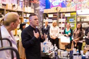 Kiehl's skincare workshop - Dale Dorning addressing audience