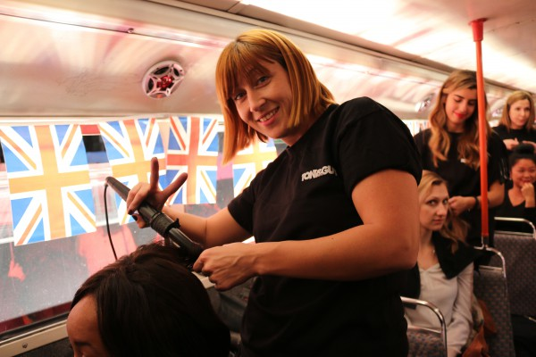 Mandy Kingsman styling aboard Pop Up Salon