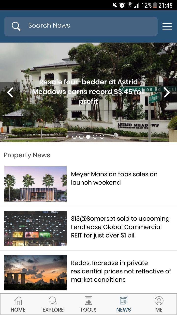EdgeProp App Property News Screen