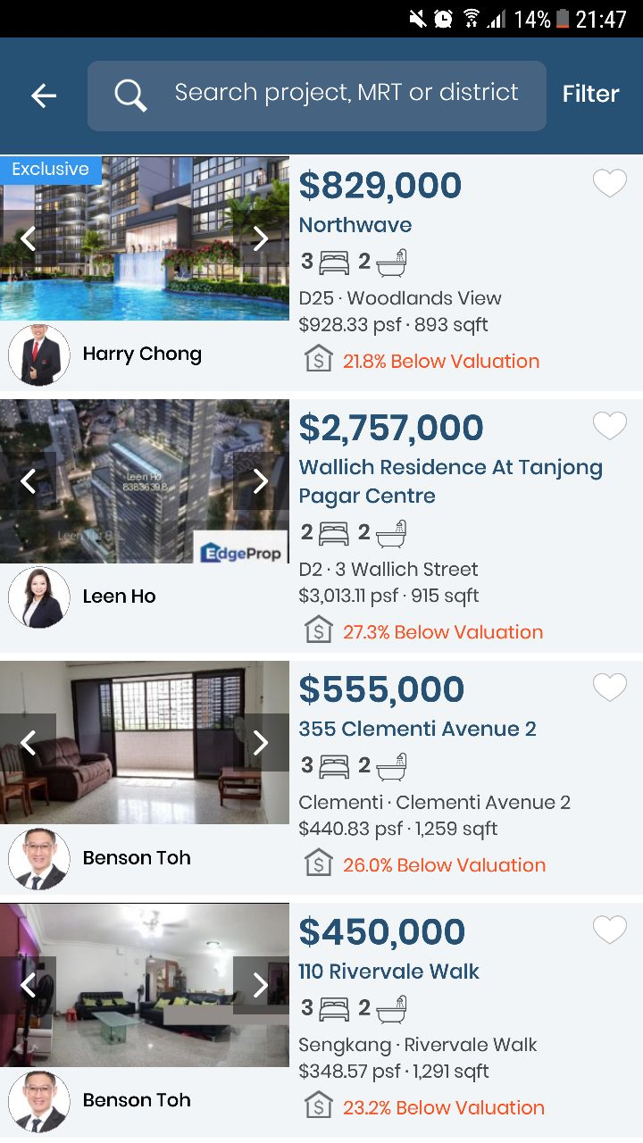 EdgeProp App Property Search Screen