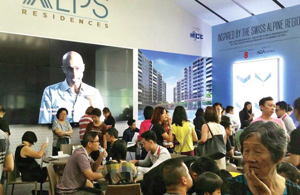 The crowd at The Alps Residences, which saw 280 units sold on the first day of its launch