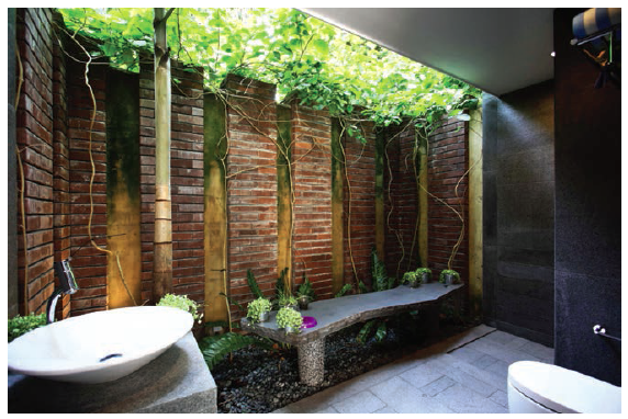 outdoor powder room with a shower area
