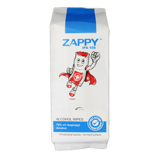 Zappy Alcohol Wipes - Hard Surfaces Use 10 per pack