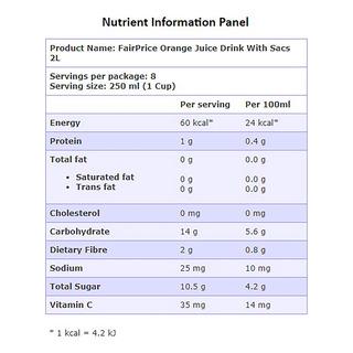 FairPrice Bottle Juice - Orange with Sacs