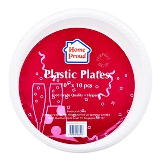 HomeProud Plastic Plates - White (25.4cm)