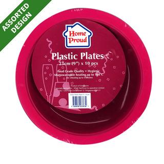 HomeProud Plastic Plates - Assorted Colour (23cm)