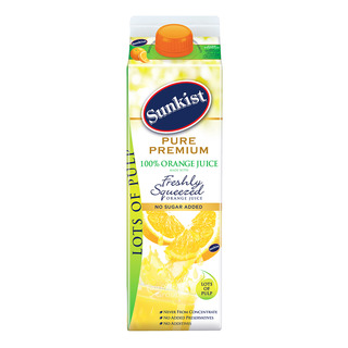 Sunkist Pure Premium 100% Juice - Orange with Lots of Pulp