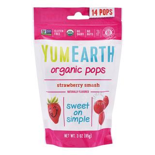 Yum Earth Organics Lollipops - Strawberry Smash