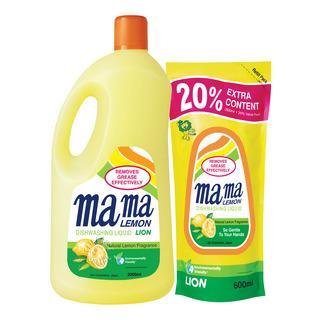 Mama Lemon Dishwashing Liquid & Refill - Natural Lemon