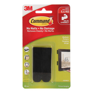 3m Command Picture Hanging Strips Medium Black 4 Per Pack