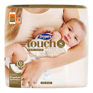 Drypers Touch Diapers - S (3 - 7kg)