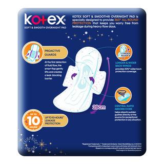 Kotex Soft & Smooth Slim Overnight Wing Pads - Heavy(28cm)