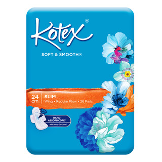 Kotex Soft & Smooth Slim Wing Pads - Regular (24cm)