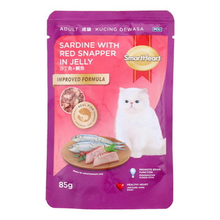 SmartHeart Adult Cat Packet Food - Sardine with RedSnapper inJelly