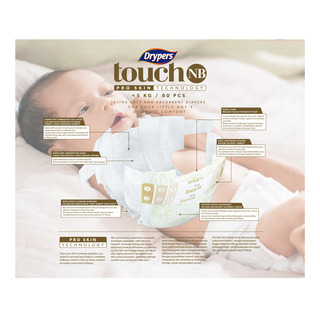 Drypers Touch Diapers - New Born (Up to 5kg)