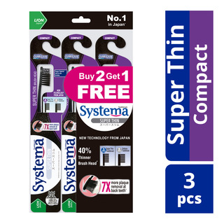 Systema Super Thin Charcoal Toothbrush - Compact