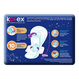 Kotex Soft & Smooth Slim Overnight Wing Pads -Heavy(35cm)