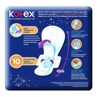 Kotex Soft & Smooth Slim Overnight Wing Pads - Heavy(41cm)
