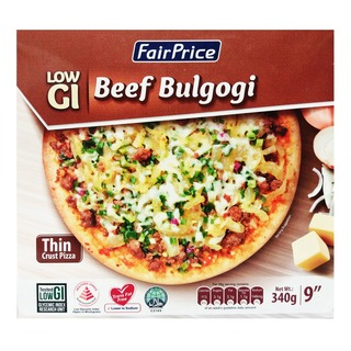 fairprice low gi thin crust pizza beef bulgogi 340g fairprice