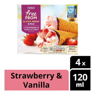 Tesco Free From Ice Cream Cones - Strawberry & Vanilla