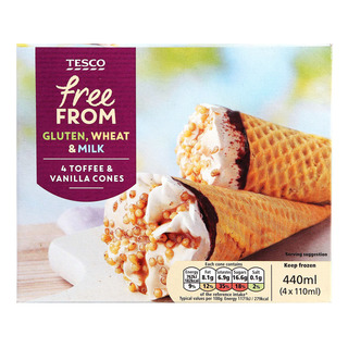 Tesco Free From Ice Cream Cones - Toffee & Vanilla