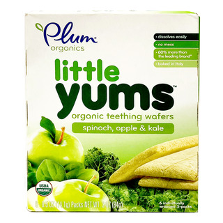 Plum Organics Little Yums Teething Wafers - Spinach  Apple & Kale