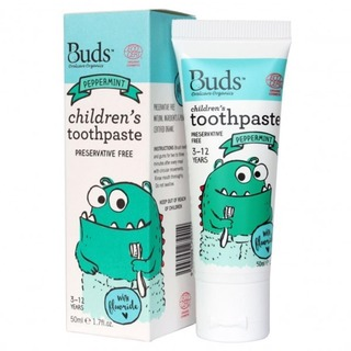 Buds Organics Childrens Toothpaste with Flouride - Peppermint