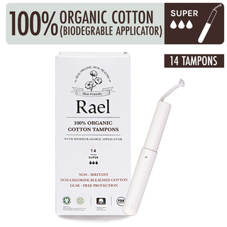 Rael Organic Cotton Tampons with Applicator - Super