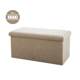 HOUZE Foldable Fabric Storage Stool/Ottomans - Khaki