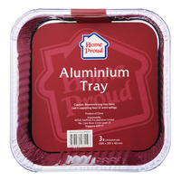 HomeProud Aluminium Tray - Square (20.5 x 20.5 x 4.8cm)